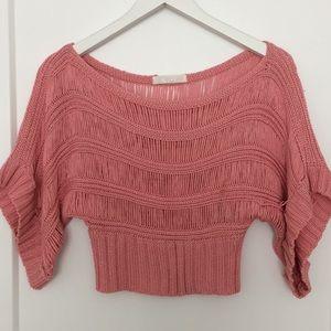 Pink knit crop top